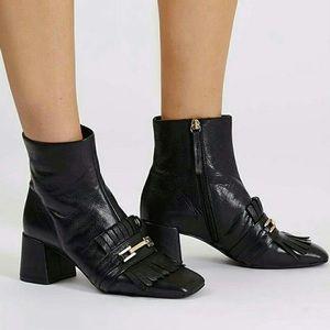 Topshop Maximum Fringe Loafer Black Leather Boots